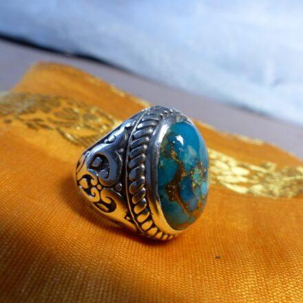 Bague argent et turquoise mohave bleue