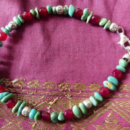 Bracelet chips turquoise, agate rose et argent