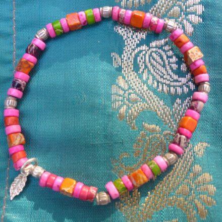 Bracelet élastique, jaspe et argent