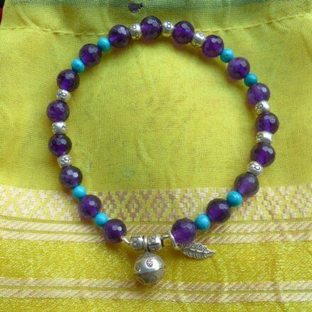 Bracelet améthyste et turquoise
