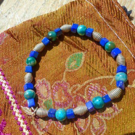 Bracelet argent, lapis lazuli et turquoise