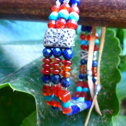 Bracelet triple lapis, turquoise, cornaline