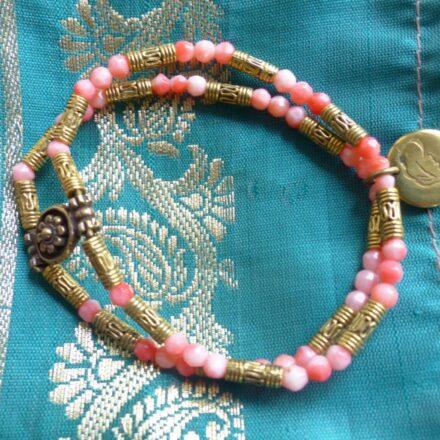Bracelet double, bambou corail et éléments laiton
