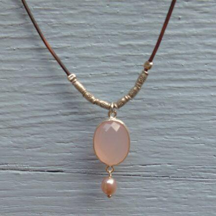Tour de cou argent, quartz rose et perle